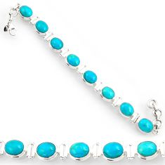 Clearance Sale- 34.52cts blue sleeping beauty turquoise 925 silver tennis bracelet d44355