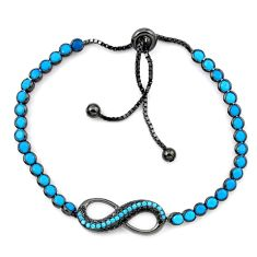 Blue sleeping beauty turquoise rhodium 925 silver adjustable bracelet c20548