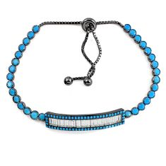Blue sleeping beauty turquoise rhodium 925 silver adjustable bracelet c20550