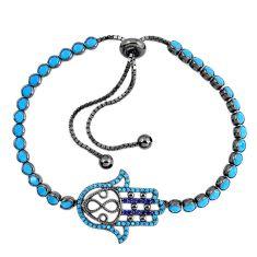 Blue sleeping beauty turquoise rhodium 925 silver adjustable bracelet c20552