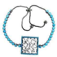 Blue turquoise 925 silver adjustable black rhodium bracelet c16995