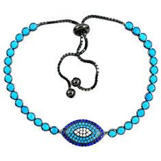 Fine blue turquoise sapphire quartz 925 silver adjustable tennis bracelet c16992