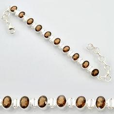 20.84cts brown smoky topaz 925 sterling silver tennis bracelet jewelry r87078