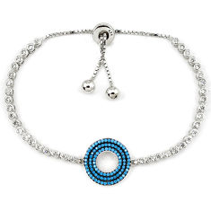 Circle of love blue turquoise topaz 925 sterling silver bracelet jewelry c17030