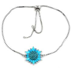 Cute blue turquoise round 925 sterling silver bracelet jewelry a35140 c24950