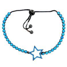 Fine blue turquoise 925 sterling silver tennis bracelet jewelry c17009