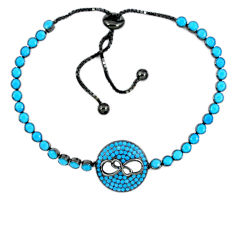 Fine blue turquoise 925 sterling silver tennis bracelet jewelry c16982