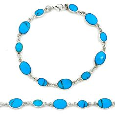 Fine blue turquoise enamel 925 sterling silver tennis bracelet a39584 c13873