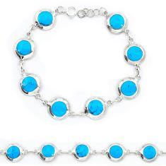 Fine blue turquoise enamel 925 sterling silver tennis bracelet a46075 c13867