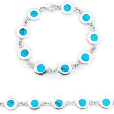 Fine blue turquoise enamel 925 sterling silver tennis bracelet a46633 c13879