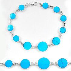 Fine blue turquoise enamel 925 sterling silver tennis bracelet a56090 c13864