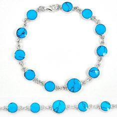 Fine blue turquoise enamel 925 sterling silver tennis bracelet a57687 c13868