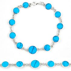Fine blue turquoise enamel 925 sterling silver tennis bracelet a57690 c13906