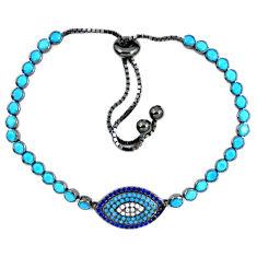 Fine blue turquoise white topaz 925 sterling silver tennis bracelet c16989
