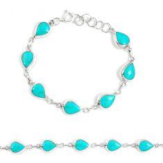 5.69gms fine green turquoise enamel 925 silver tennis bracelet a94913 c13875