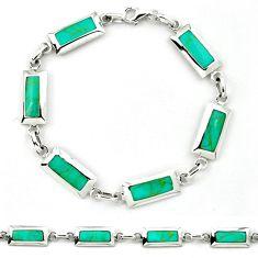 Fine green turquoise enamel 925 sterling silver bracelet jewelry a39597 c13874