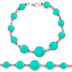 Fine green turquoise enamel 925 sterling silver tennis bracelet a39545 c13880