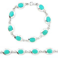 Fine green turquoise enamel 925 sterling silver tennis bracelet a46592 c13869