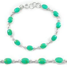 Fine green turquoise enamel 925 sterling silver tennis bracelet a56072 c13909