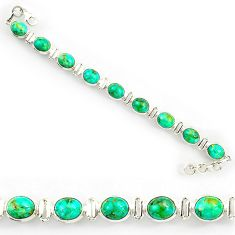 37.88cts green arizona mohave turquoise 925 silver tennis bracelet r27461