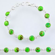 21.42cts green copper turquoise 925 silver tennis bracelet jewelry r55107