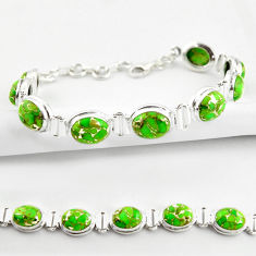 35.38cts green copper turquoise 925 sterling silver tennis bracelet r38821