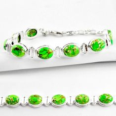 36.26cts green copper turquoise 925 sterling silver tennis bracelet r38822