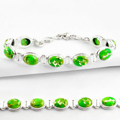 35.81cts green copper turquoise 925 sterling silver tennis bracelet r38823