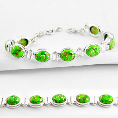 34.62cts green copper turquoise 925 sterling silver tennis bracelet r38825