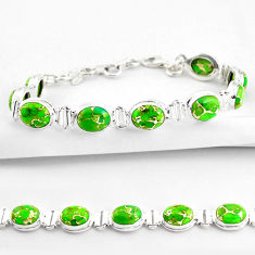 35.38cts green copper turquoise 925 sterling silver tennis bracelet r38826