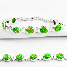 36.26cts green copper turquoise 925 sterling silver tennis bracelet r38830