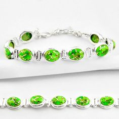 35.38cts green copper turquoise 925 sterling silver tennis bracelet r38831