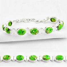 36.26cts green copper turquoise 925 sterling silver tennis bracelet r38832