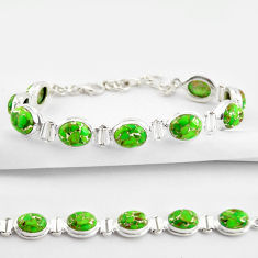 35.83cts green copper turquoise 925 sterling silver tennis bracelet r38834