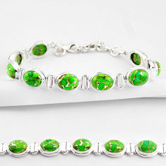 35.81cts green copper turquoise 925 sterling silver tennis bracelet r38835