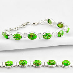 35.85cts green copper turquoise 925 sterling silver tennis bracelet r38836
