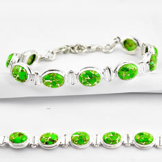 35.32cts green copper turquoise 925 sterling silver tennis bracelet r38838
