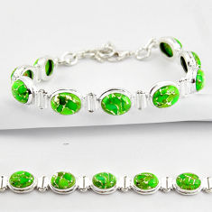 36.63cts green copper turquoise 925 sterling silver tennis bracelet r38839