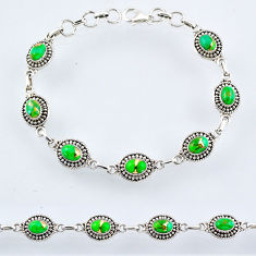 9.30cts green copper turquoise 925 sterling silver tennis bracelet r54935