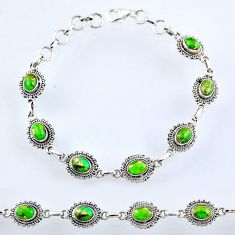 10.12cts green copper turquoise 925 sterling silver tennis bracelet r54954