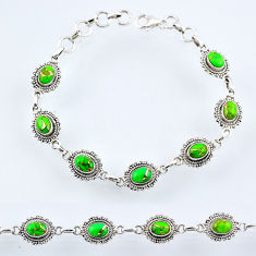 9.80cts green copper turquoise 925 sterling silver tennis bracelet r54955