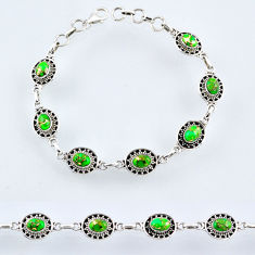 10.58cts green copper turquoise 925 sterling silver tennis bracelet r54973