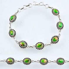 9.56cts green copper turquoise 925 sterling silver tennis bracelet r54974