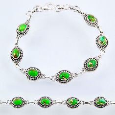10.70cts green copper turquoise 925 sterling silver tennis bracelet r54995