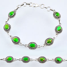10.46cts green copper turquoise 925 sterling silver tennis bracelet r54996