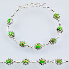 9.47cts green copper turquoise 925 sterling silver tennis bracelet r55016