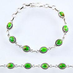 9.72cts green copper turquoise 925 sterling silver tennis bracelet r55044