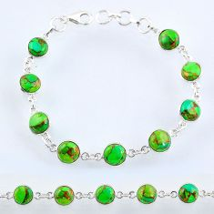 22.09cts green copper turquoise 925 sterling silver tennis bracelet r55108