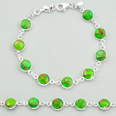 19.34cts green copper turquoise 925 sterling silver tennis bracelet t19623