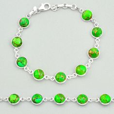 19.65cts green copper turquoise 925 sterling silver tennis bracelet t19625